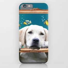 Golden Retriever Frame tropical fish turquoise iPhone Case