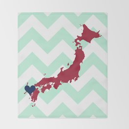 Japan in Cardinal with Mint Chevron Throw Blanket