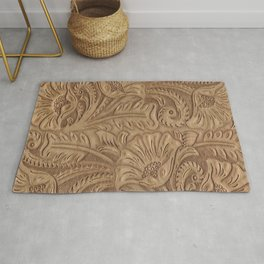 Brown Tooled Leather Print Rug