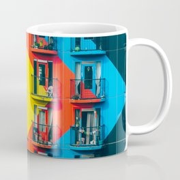 APARTMENTS - BLUE - RED - YELLOW - BALCONIES - PHOTOGRAPHY Coffee Mug