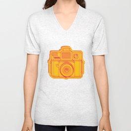 I Still Shoot Film Holga Logo - Reversed Yellow & Red Unisex V-Neck