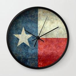 Texas flag, Retro distressed texture Wall Clock