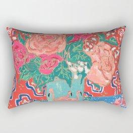 Roses in Enamel Flamingo Vase Rectangular Pillow
