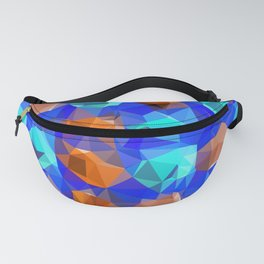 geometric polygon abstract pattern in blue and brown Fanny Pack