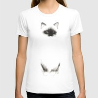 indonesia T-shirts featuring Angora Siamese Cat - Chat Siamois Angora by Priscilla Moore