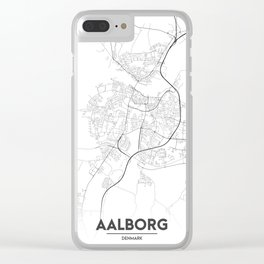 Minimal City Maps - Map Of Aalborg, Denmark. Clear iPhone Case
