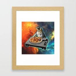Cat dj with disc jockey's sound table Framed Art Print