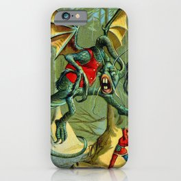 Alice and The Jabberwock in Color From Through The Looking Glass  iPhone Case