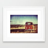 adventure is out there Framed Art Prints featuring Adventure by BeCombi