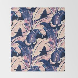 Purple tropical banana leaves Throw Blanket