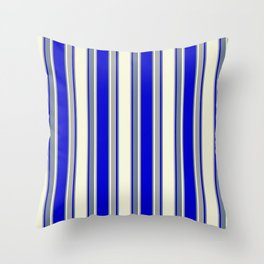 Beige, Dark Grey, Blue, and Slate Gray Colored Pattern of Stripes Throw Pillow