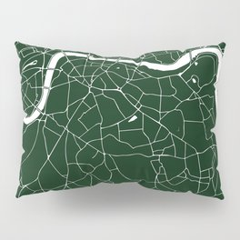 Green on White London Street Map Pillow Sham