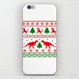 Christmas ugly sweater dinosaur pattern iPhone Skin