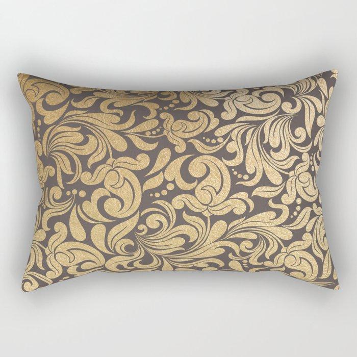 Gold foil swirls damask #11 Rectangular Pillow