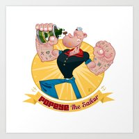 popeye Art Prints featuring popeye by spundman