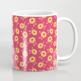 Autumn floral - yellow flowers on red Coffee Mug