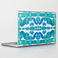 tie dye Laptop & iPad Skins featuring Tie-Dye Twos Aqua by Nina May Designs