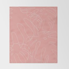 Monstera No2 Pink Throw Blanket