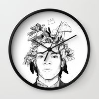 basquiat Wall Clocks featuring Basquiat by offthefaceoftheearth