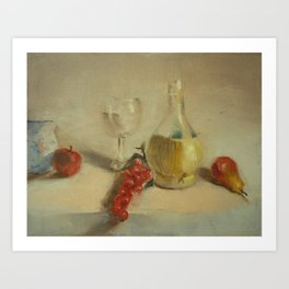 Fruit with Bottle of Water - Oil Painting Print Art Print