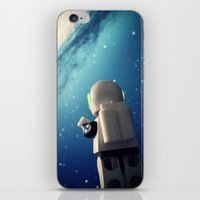 neil gaiman iPhone & iPod Skins featuring Neil in the galaxy by Salvatore Rotolo