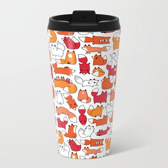 Foxy Foxes Doodle Metal Travel Mug