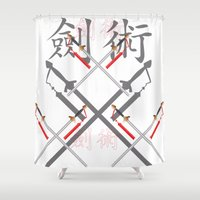 sword Shower Curtains featuring China Sword by Littlebell