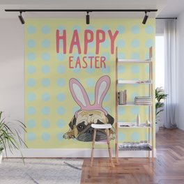 Happy Easter Pug Wall Mural