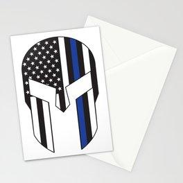 Gladiator Helmet American Flag Thin Blue Line Stationery Cards