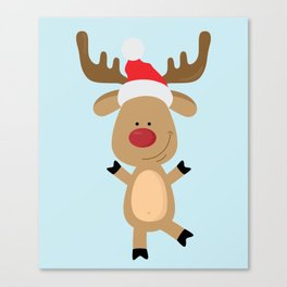 Dancing Rudolph Red Nosed Reindeer Merry Christmas Canvas Print