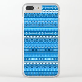 Modern Native Navajo Ethnic Tribal V.02 - River Blue Color Clear iPhone Case