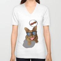 bacon V-neck T-shirts featuring BACON! by Salina Ayala