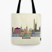 washington Tote Bags featuring washington dc  by bri.buckley