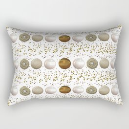Modern white faux gold sequins geometrical dots stripes Rectangular Pillow