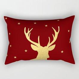 Gold Xmas Deer Rectangular Pillow