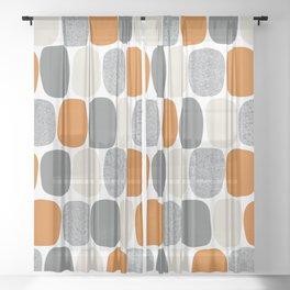 Wonky Ovals in Orange Sheer Curtain