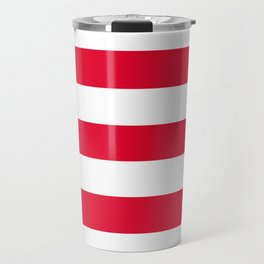 Medium candy apple red - solid color - white stripes pattern Travel Mug