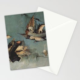 Hieronymus Bosch flying ships and creatures Stationery Cards