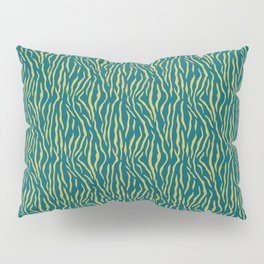 Dark Yellow Tiger Stripes Pattern on Sherwin Williams Trending Colors of 2019 Oceanside Dark Aqua Blue SW 6496 Turquoise Pillow Sham