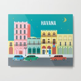 Havana, Cuba - Skyline Illustration by Loose Petals Metal Print
