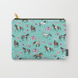 Hand drawn horses, Flower horses, Floral Pattern, Aqua Blue Carry-All Pouch