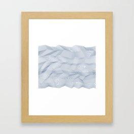 Facets - White and dark blue Framed Art Print
