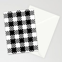 Black and white gingham pattern Stationery Cards