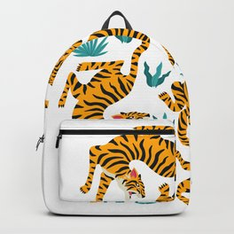 Tigers dance in tropical forest illustration Backpack