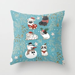 Christmas French Bulldog Throw Pillow