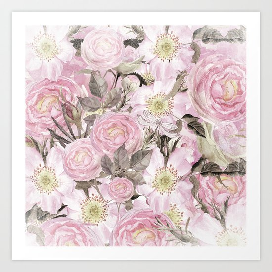 Floral Vintage painterly background in pink with Roses Flowers and insect Art Print