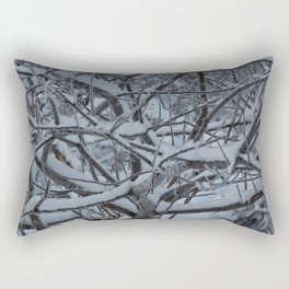 Snow Covered Alders Photography Print Rectangular Pillow