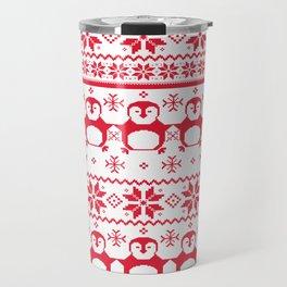 Red Scandinavian Penguin Holiday Design Travel Mug