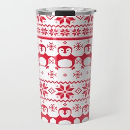Red Scandinavian Penguin Holiday Design Travel Mug
