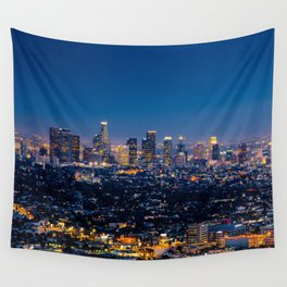 Los Angeles, California, I love LA Downtown Skyline, Golden lights, USA Sunset Blvd, Palms, Cali Map Wall Tapestry